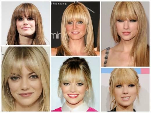 Penteados de franja para rosto oval e quadrado