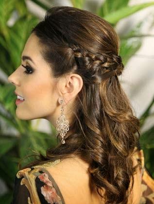 Penteados Semi presos cabelos médios para madrinhas