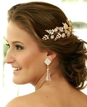 penteados para noivas preso com flor