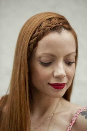 fotos de penteados trançados na franja