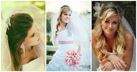 penteados para noivas cabelos semi presos com véu