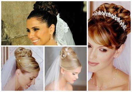 penteados para noivas com véu e tiara