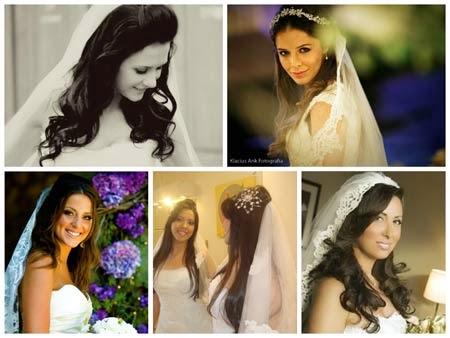penteados para noivas com véu e cabelo solto