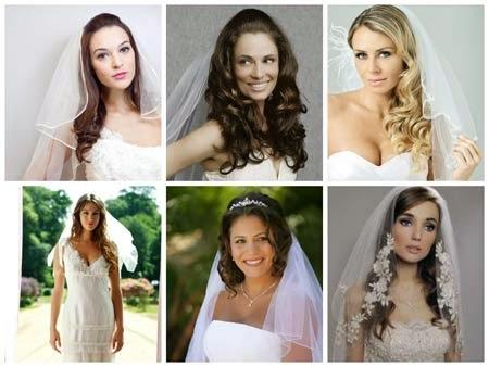 penteados para noivas com véu curto