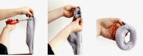 como fazer coque alto com meia