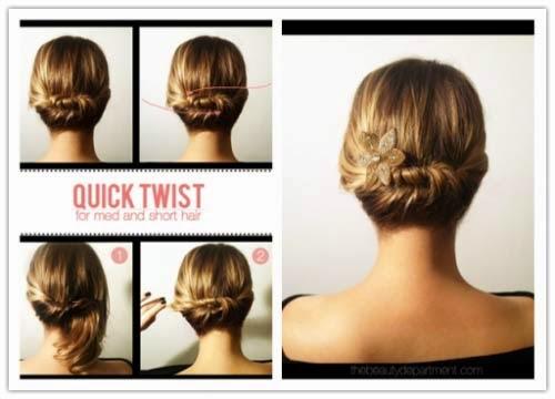penteados fácil para cabelos curtos para noite