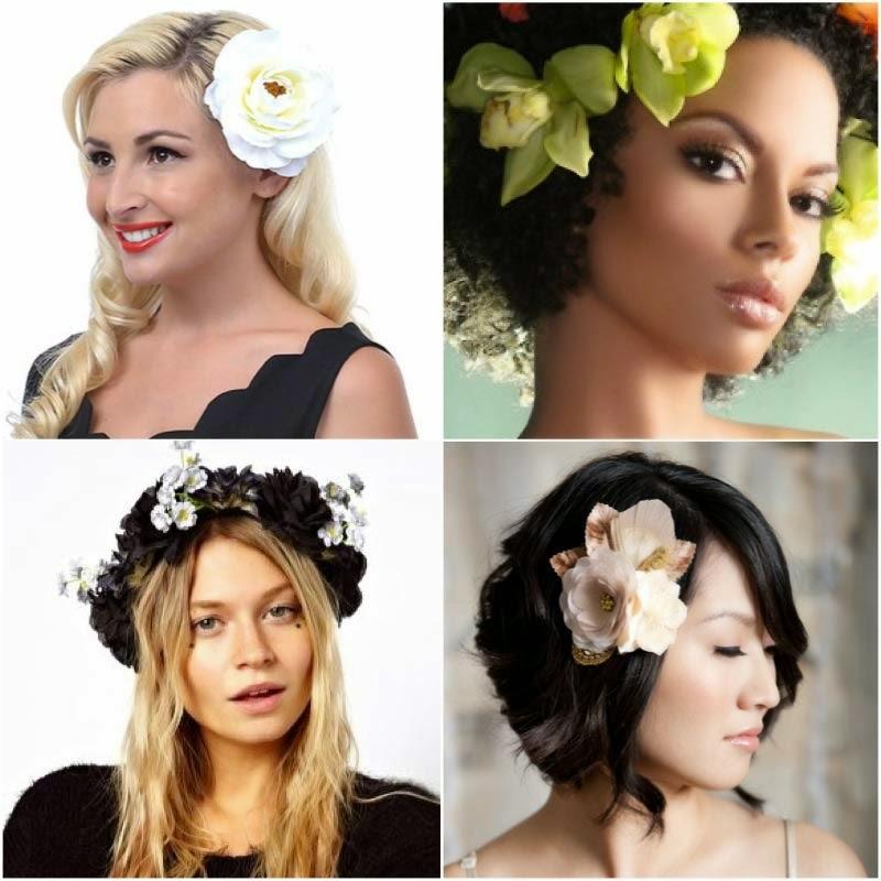 fotos de penteados soltos com flores para noivas