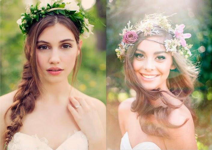 coroa verde e com flores para penteado