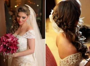Tranças embutidas de lado para casamento