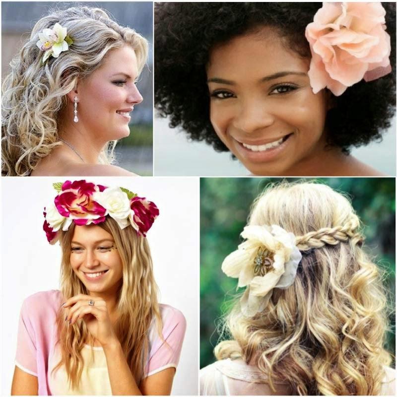 penteados com cachos e flor